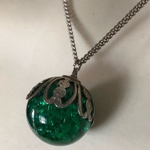 Vintage Green Glass Marble Pendant Necklace